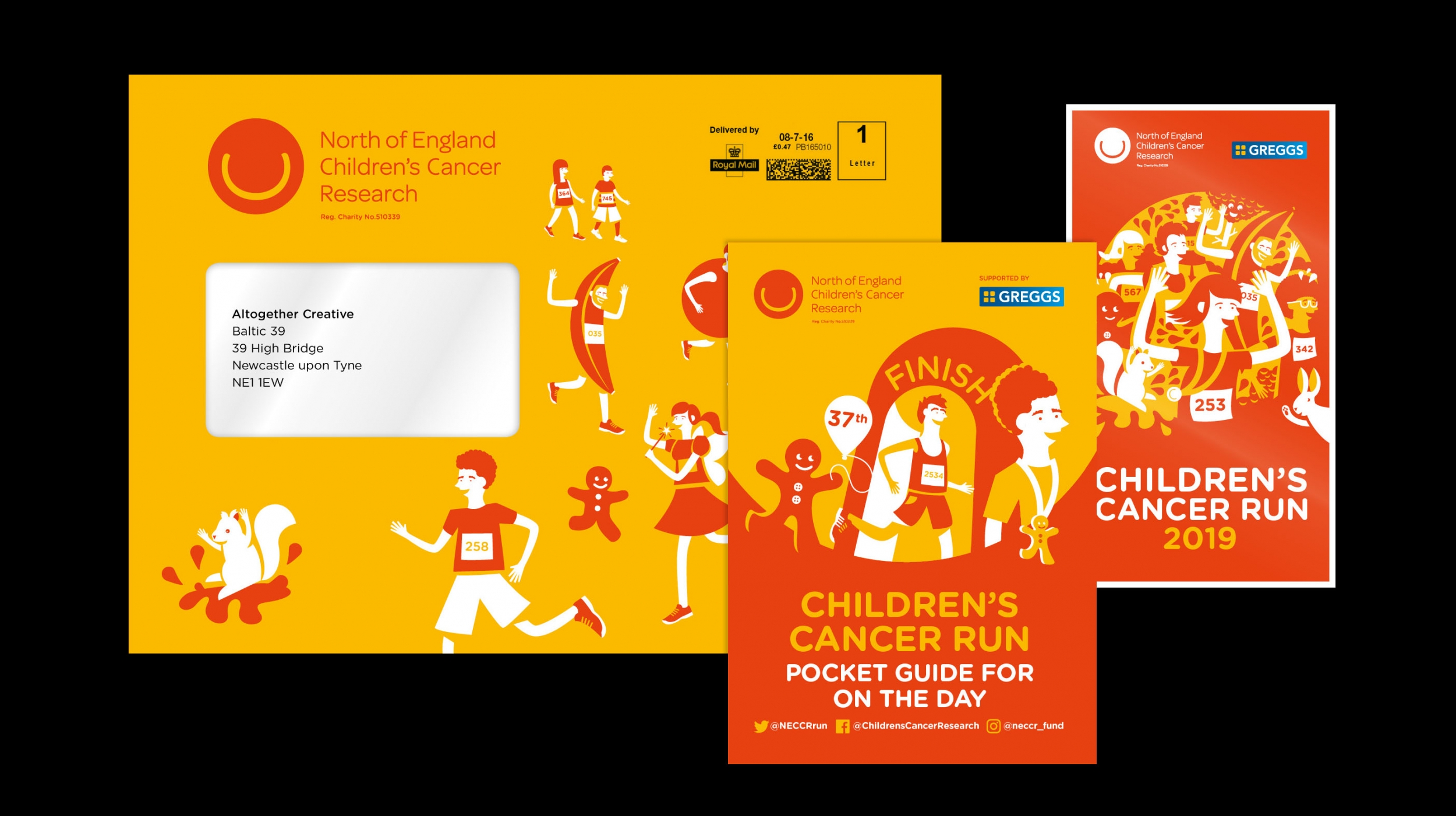 North of England Children's Cancer Research NECCR marketing materials by Altogether Creative.