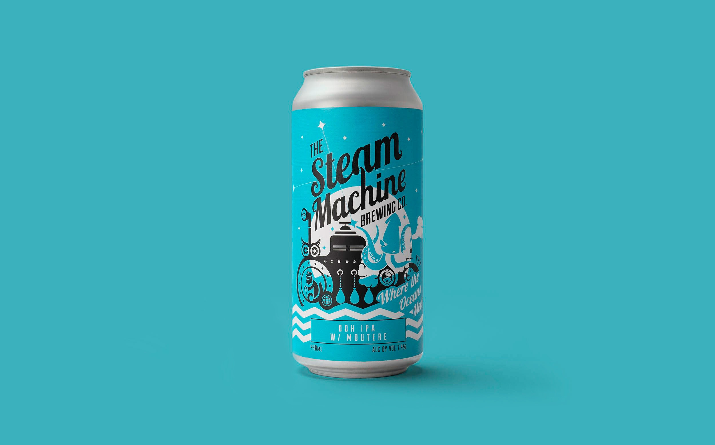 Craft beer branding, craft beer packaging and illustration for Steam Machine Brewing by Altogether Creative.