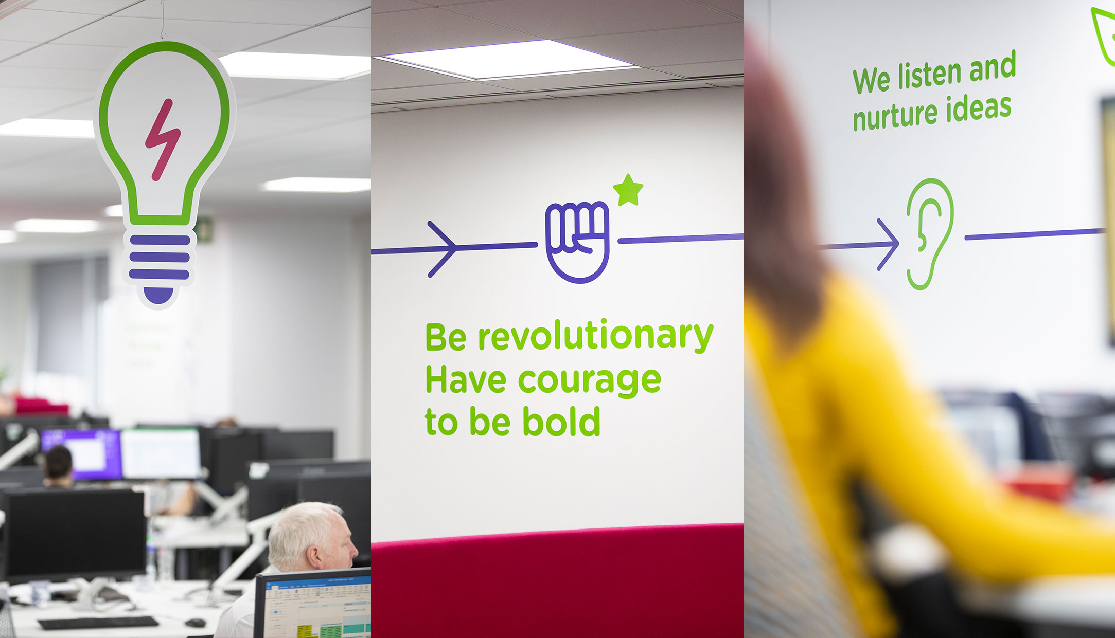 Housing association brand values and office interior wall vinyls by Altogether Creative.