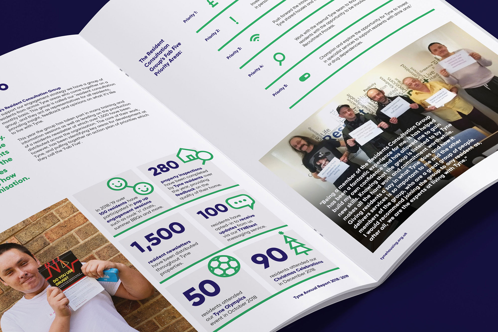 Tyne Housing association branding, annual report, social impact, infographics by Altogether Creative.