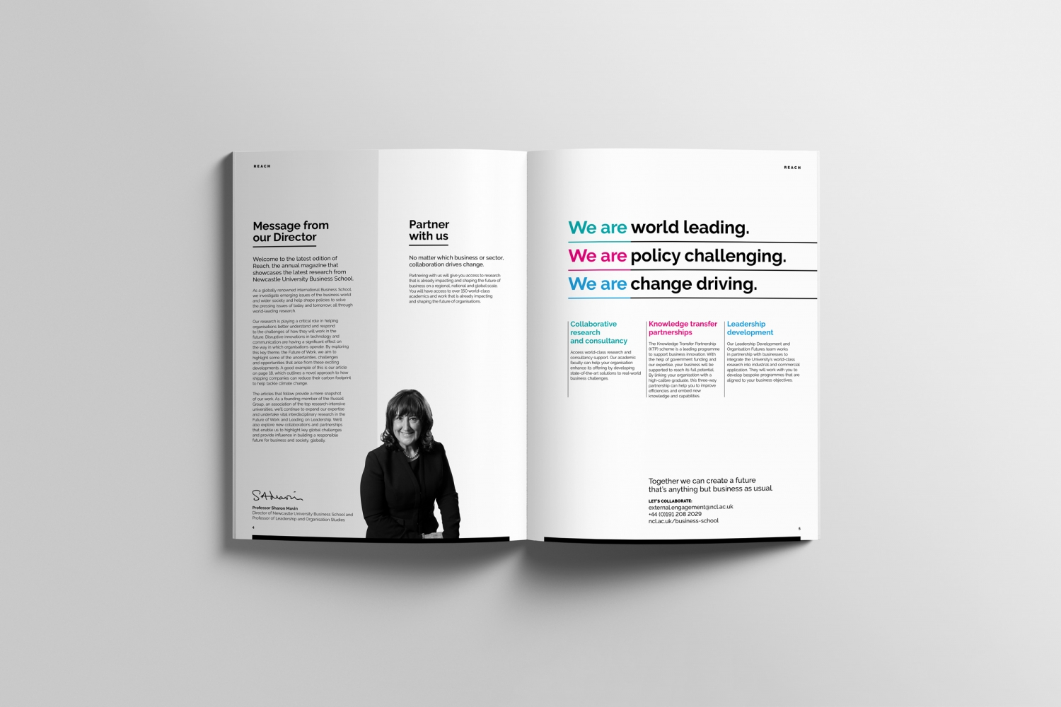 Newcastle University Business School Alumni magazine design and editorial design by Altogether Creative.